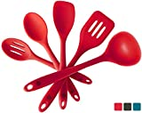 StarPack Basics Silicone Kitchen Utensil Set (5 Piece Set, 10.5') - High Heat Resistant to 480°F, Hygienic One Piece DesignSpatulas, Serving and Mixing Spoons (Cherry Red)