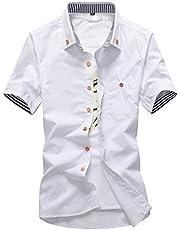 KMAZN メンズ ボタンダウン シャツ 半袖 無地 トップス カジュアルシャツ サイドスリット ワイシャツ
