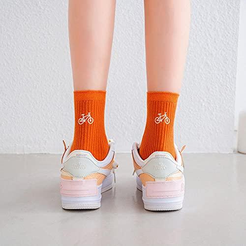 MIWNXM 10 Pares Cartoon Socks Cute Cycling Striped Kawaii Harajuku WomanFunny Happy Designer Korean Style Women Sock