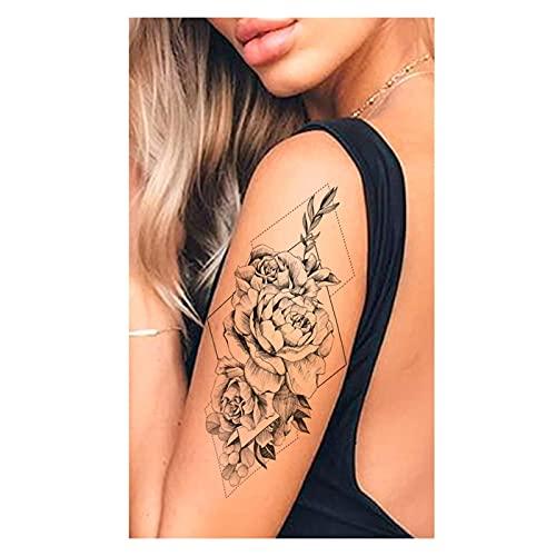Qqinghan Púrpura Rose Joyería Transferencia de Agua Tatuaje Pegatinas Mujeres Cuerpo Arte Tatuaje Temporal Tatuaje Cintura Pulsera Flash Tatoos Flor (Color : PMZ015)