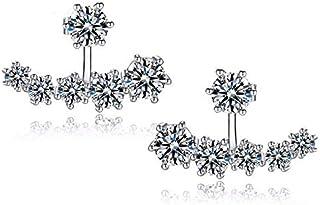 BESTPICKS 925 Sterling Silver Cubic Zirconia Crystal Delicate Earrings for Women's Gift