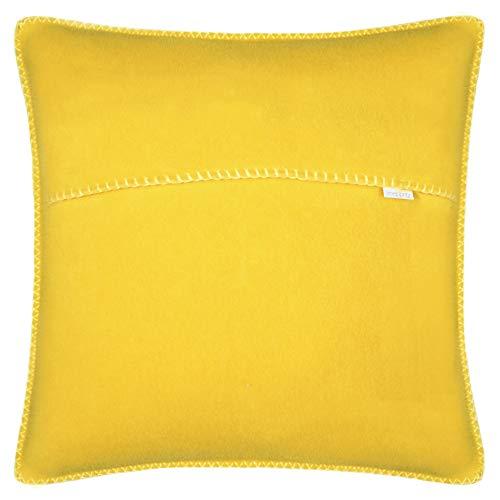 zoeppritz since 1828 Soft-Fleece-Kissenbezug, Polarfleece mit Häkelstich, weiche, hochwertige Sofa-Kissenhülle, Polyester/Viskose, 160 Curry, 40 x 40 cm