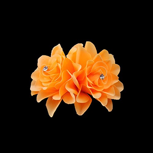 AKOAK New Beauty Women's Bridal Wedding Rhinestone Orchid Hair Clip Barrette Bridal Wedding Party Women Accessories (1Pcs,Orange)