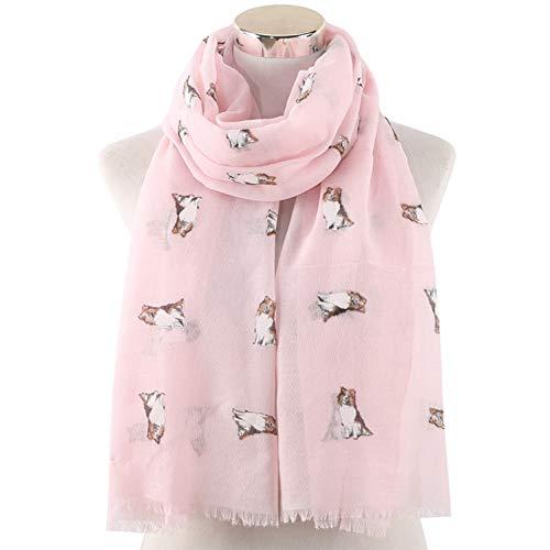 MYTJG Lady sjaal roze witte blauwe schokhond sjaal dames scarf shawl warm en comfortabel warme lente en herfst winter