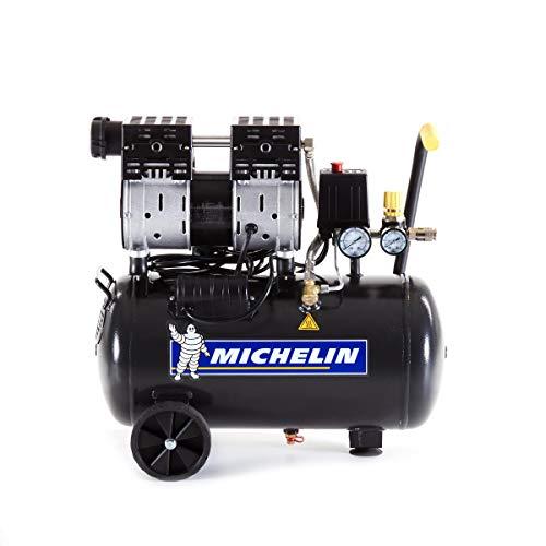 Michelin Compressore D'Aria Silenzioso Mx24/1 - Serbatoio da 24 Litri - Senza Olio - Motore da 1 Hp - Pressione Massima 8 Bar - Portata D'Aria 106 L/Min - 6,4 M³/H - 59 Db(A) Lpa 4M