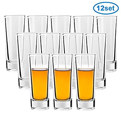 Shot Glass, RUCKAE 2-Ounce Shot Glasses with Heavy Base, Clear Shot Glasses Set of 12 (Cylinder Shaped)