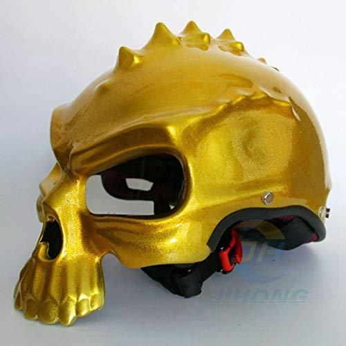 MYSdd Dual-Purpose-Maske Motorradhelm Retro Motorrad Halbroller Helm hochwertige ABS-Material Schale, verstärken die Linse - Bright Gold X XXL