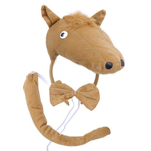 BESTOYARD Kinder Kostüme Pferd Kopf Stirnband mit Ohren Tier Schwanz Fliege für Cosplay Halloween Party Favors 3 Stück