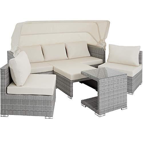 TecTake 800771 Aluminium Poly Rattan Lounge Set, 16-teilig, wetterfest, Garten Sofa mit Sonnendach, Outdoor Sitzgruppe inkl. Kissen und Beistelltisch - Diverse Farben - (Hellgrau | Nr. 403712) - 4