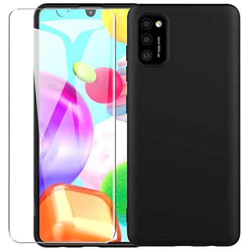 ARRYNN Funda Samsung Galaxy A41 con Cristal Templado Protector de Pantalla,Negro Ultra Slim Protectora Funda de Silicona Líquida Suave Case Cover para Samsung Galaxy A41 - Negro