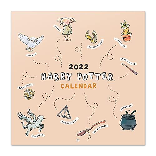 Grupo Erik Calendario Harry Potter 2022 - Calendario 16 meses - Calendario 2021 2022, Calendario de pared 2021 2022 - Producto con licencia oficial, Harry Naranja, CP22060