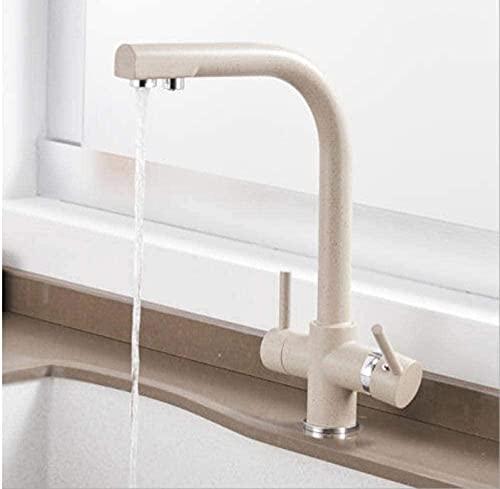 Grifo de la cocina cobre lacado blanco doble manija fregadero cascada grifo mezclador agua caliente y fría