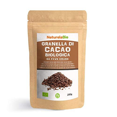 Grué de Cacao Cru Bio 200g. Organic Raw Cacao Nibs. 100% Naturel et Pur. Produit au Pérou par la Plante Theobroma Cacao. Source de magnésium, potassium et fer. NaturaleBio