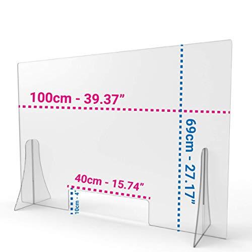 Protección de plexiglás ultra transparente anti-contagio con apertura y patas | Separador para Oficina, Recepción, Bibliotecas, Aulas (100x70 cm)