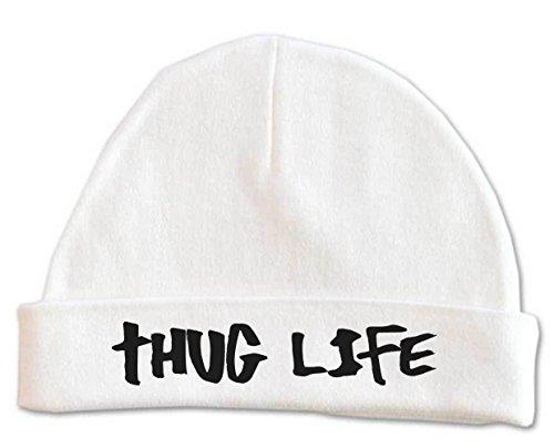 Lil Shirts Unisex Baby Thug Life Beanie (0-6, White)