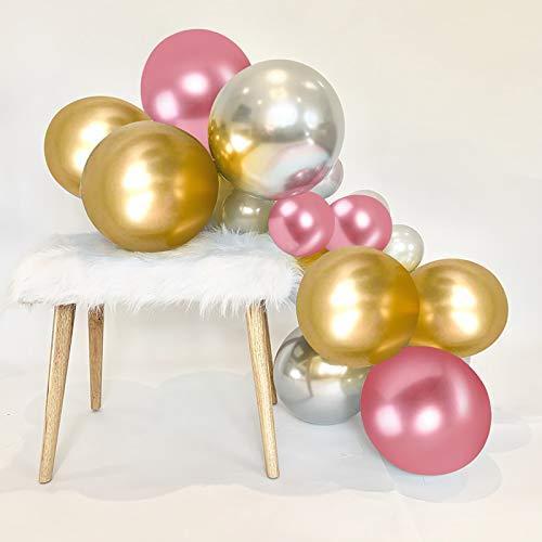 HiQuaty Globos de Rosa Plateados Dorado, 50 Piezas Globos de Cromo Metálico de 12 pulgadass para la Decoración de la Fiesta de Cumpleaños de la Boda