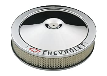 Proform 141-906 Chrome 14  Diameter Air Cleaner Kit with Black Chevrolet/Red Bowtie Logo and 3  Paper Filter