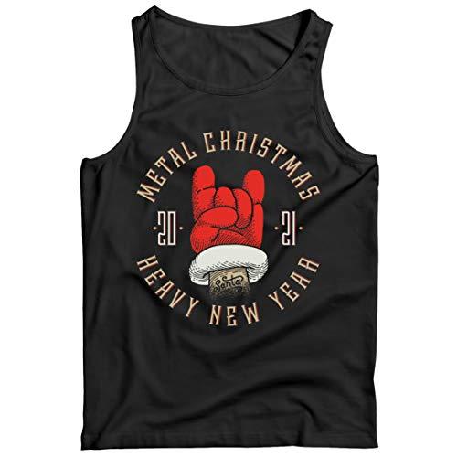 lepni.me Camisetas de Tirantes para Hombre Metal Navidad Pesado Ao Nuevo 2021 Regalo Sarcstico de Navidad (Medium Negro Multicolor)