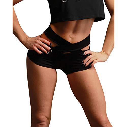 WOZOW Damen Hosen Sports Shorts Kurze Hosen Crossover Solid Stretch Skinny High Waist Ruched Butt Running Laufhose Mini Hose Sommer (L,Schwarz)