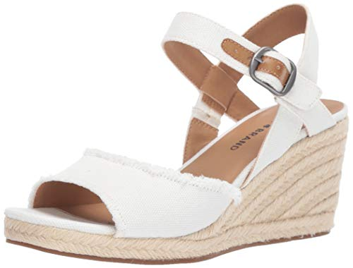 Lucky Brand Women's MINDRA Espadrille Wedge Sandal, White, 7