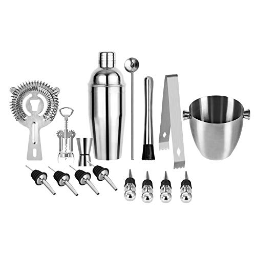 Cocktail Shakers Set, 16 Pieces Cocktail Making Kit Set,Stainless Steel Bar Tool Set Bartender Kit with Jigger Shaker Strainer Ice Tongs Muddler Spoon Utility Cap Corkscrew 4 Stoppers 4 Liquor Pourers