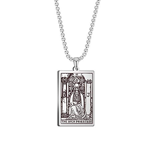 TEAMER Tarot Cards Necklace Stainless Steel Jewelry Celtic Astrology Divination Magic Amulet Necklace Major Arcana Pendant Necklaces (Silver, The HIGH Priestess)