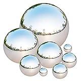 Bola de Acero Inoxidable, Tiberham 8 Pcs 42-200 mm Bola Hueca de Espejo Pulido, Esfera Reflectante...