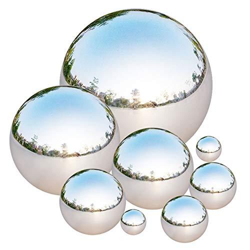 Bola de Acero Inoxidable, Tiberham 8 Pcs 42-200 mm Bola Hueca de Espejo Pulido, Esfera Reflectante para Jardín, Bolas Flotantes sin Costuras para Estanque, Globo para Decoración del Hogar o Ja