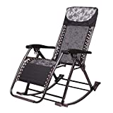 Outdoor Rocking Chair Reclining Zero Gravity Patio Lounger Chair Folding Outdoor Garden Beach Lawn Camping Portable Chair Support 200kgLeisure Chair Garden Chair (Color : Black)