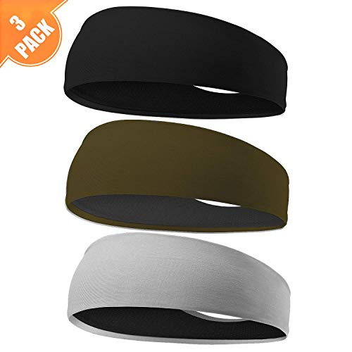 EasYoung Headbands for Men, 6/3/2 Pack Sweat Bands Headbands Men's Sport Cooling Headbands for Running, Crossfit, Working Out and Performance Stretch Guys Hairbands
