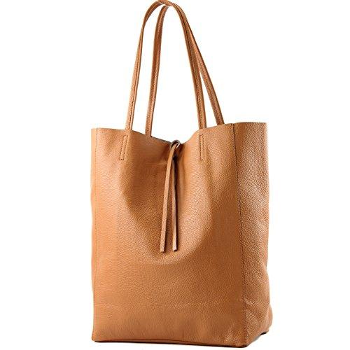 modamoda de - T163 - Ital. Shopper Large mit Innentasche aus Leder, Farbe:Cognac