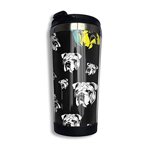 Taza de café de acero inoxidable con diseño de bulldog inglés en blanco y negro
