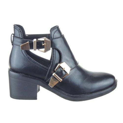Sopily - Scarpe da Moda Stivaletti - Scarponcini Alti Low Boots Donna Fibbia Tacco a Blocco 6.5 CM - Nero CAT-AS1403 T 38 - UK 5