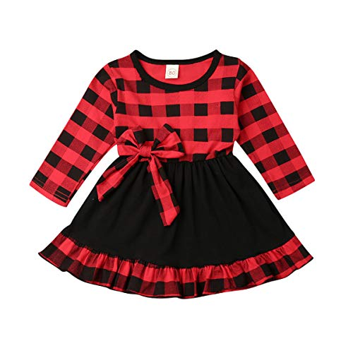 Toddler Baby Girl Christmas Party Ruffle Long Sleeve Plaid Tutu Princess Dress Outfit (6-12Months, Red-E)