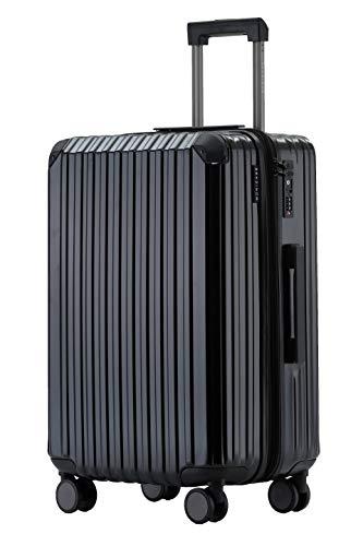 Münicase M816 TSA-Schloss Koffer Reisekoffer Trolley Kofferset Hardschale Boardcase (Schwarz, Großer Koffer)