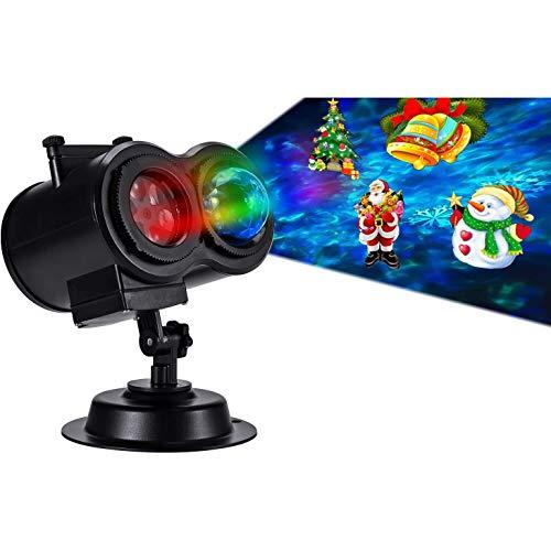 Halloween Lampada per Proiettore LED, 16 Modelli LIGHT Luce per Proiettore Impermeabile con Motivo a Onde d'Acqua con Telecomando Decorazione di illuminazione Festa Natale Interno Esterno