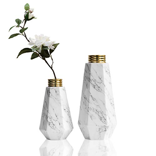 TERESA'S COLLECTIONS Vasen Keramik 2er Set 23/31.5cm Nordisch Marmor Muster Geometrische mit Goldem Gewinde Dekorative Porzellan Blumenvasen Moderne Tischvase für Wohnzimmer Fensterbank Haus Büro