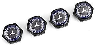 HYFML 4 pcs Separate Zinc Alloy Decoration License Plate Frame Screw Bolt Apply Mercedes-Benz(Blackbody Blue Label)