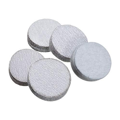 ZILMAKO 50Pcs 2' Hook and Loop Sanding Disc 60 120 180 240 400 Grit Mixed Sandpaper Sanding Disc Pad Sand Paper Sheets