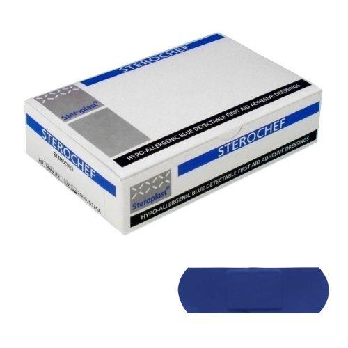 Sterochef Pflaster, zum Detektieren, Metall, 7,5 x 2,5 cm, Blau, 100 Stück