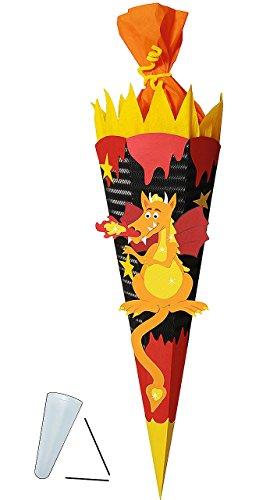 alles-meine.de GmbH BASTELSET Schultüte -  Drachen  - 85 cm - mit / ohne Kunststoff Spitze - Zuckertüte zum selber Basteln - 6 eckig Jungen Drache Ritter Ritterburg Feuer schwa