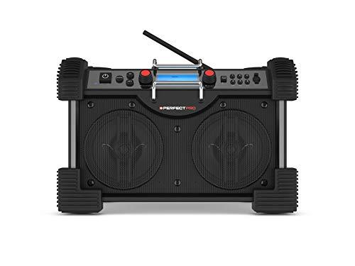 PerfectPro Baustellenradio Rockhart BT, DAB+ Digitalradio und UWK-Empfang, Radio mit AUX-Eingang, Netzstrom & Batterien 8xD, Stoßfest