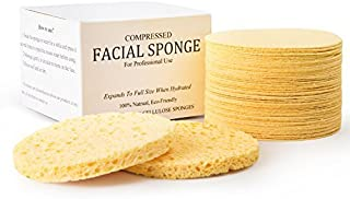 Facial Sponges, MAXSOFT Compressed 100% Natural Cellulose Facial Cleansing Sponges-50 Count