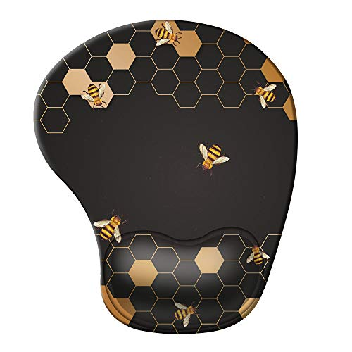 iCasso Ergonomic Mouse Pad with Gel Wrist Rest Support, Pain Relief Wrist Rest Pad with Lycra Cloth, Non-Slip PU Base, Easy Typing Mouse Pad for Office, Home, Laptop, Computer - Honeycomb