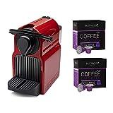 Nespresso Inissia Espresso Maker (Red) with Intenso Dark Roast Coffee Capsules Bundle (40 Capsules) (3 Items)