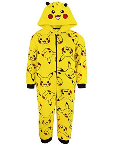 Pokemon Onesie Jungen Pikachu Gelb 3D Ears Kids Pyjamas Schlafanzug 7-8 Jahre