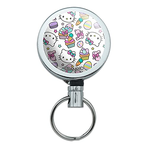Hello Kitty Easter Sweets Pattern Heavy Duty Metal Retractable Reel ID Badge Key Card Tag Holder with Belt Clip