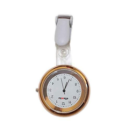 Ellemka - Krankenschwestern Pfleger Chefs | Analoge Ansteckuhr Taschenuhr | Digitales Quarzuhrwerk | Hängeband aus ABS Plastik mit Clip | JCM-2103 Elle - Farbe Gold