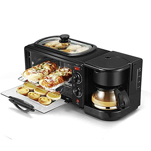 Grateful for all the pieces 3 in 1 Breadmaker Machines Breakfast Machine Multifunction Electric Coffee Maker Frying Pan Mini Oven Household Bread Pizza Oven Frying Pan