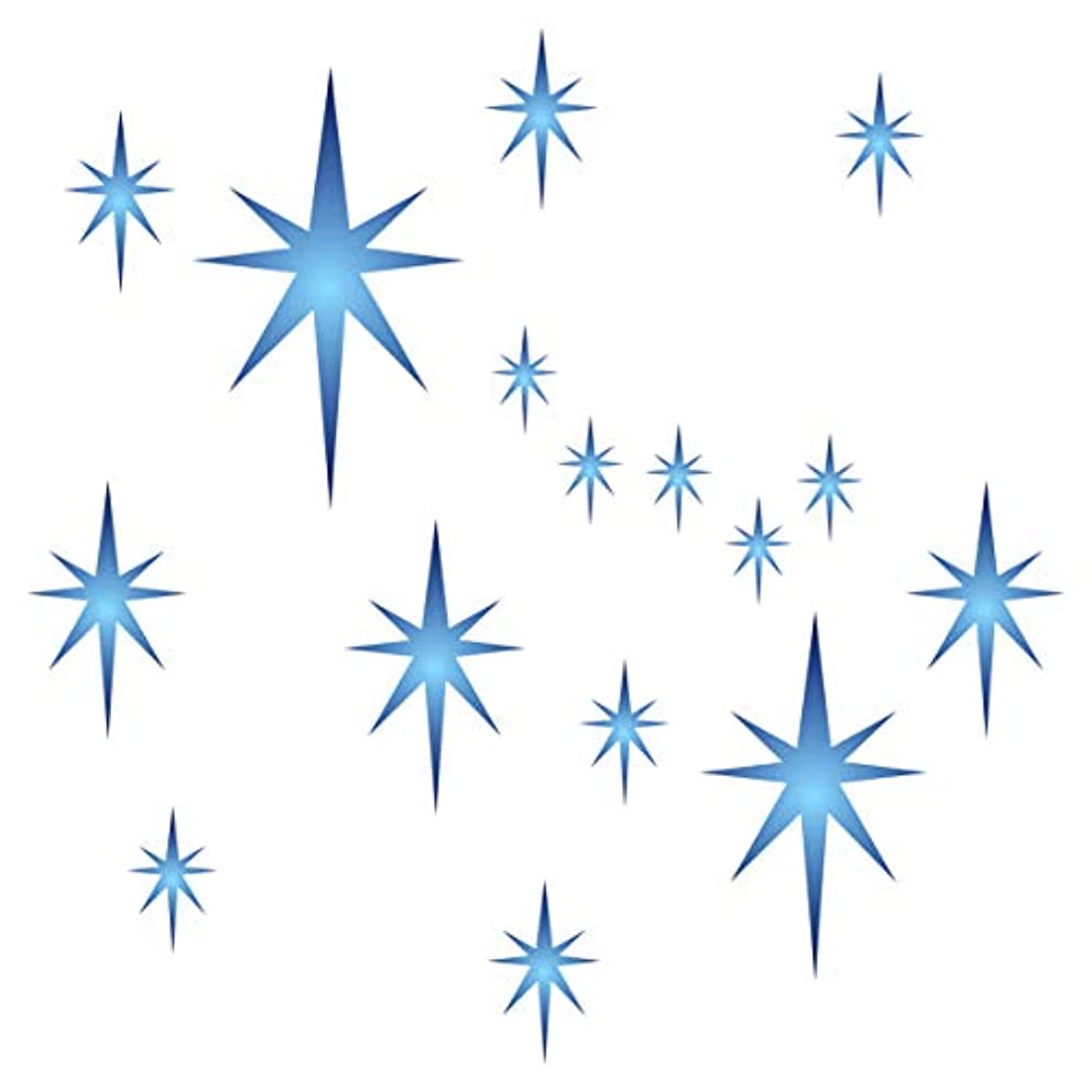 Star Stencil - 6.5 x 6.5 inch (S) - Large Reusable Stars Sky Cluster Allover Pattern Wall Stencil Template - Use on Paper Projects Scrapbook Journal Walls Floors Fabric Furniture Glass Wood etc.